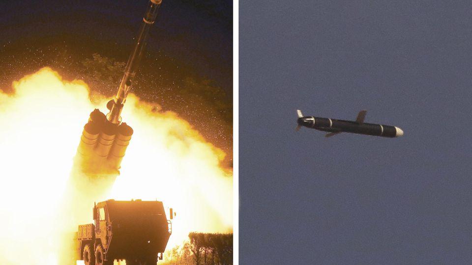 Diesevon Nordkorea veröffentlichten Fotos solleneinen Marschflugkörper zeigen, der von einer Abschussrampe abgefeuert wird