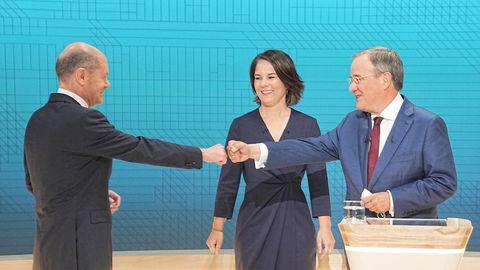 Die Kanzlerkandidaten Olaf Scholz (SPD, l-r), Annalena Baerbock (Bündnis90/Die Grünen) und Armin Laschet (CDU)