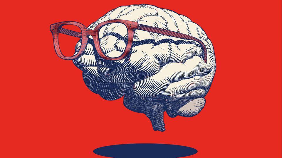 Eine Illustration eines Gehirns mit Brille auf roten Hintergrund
