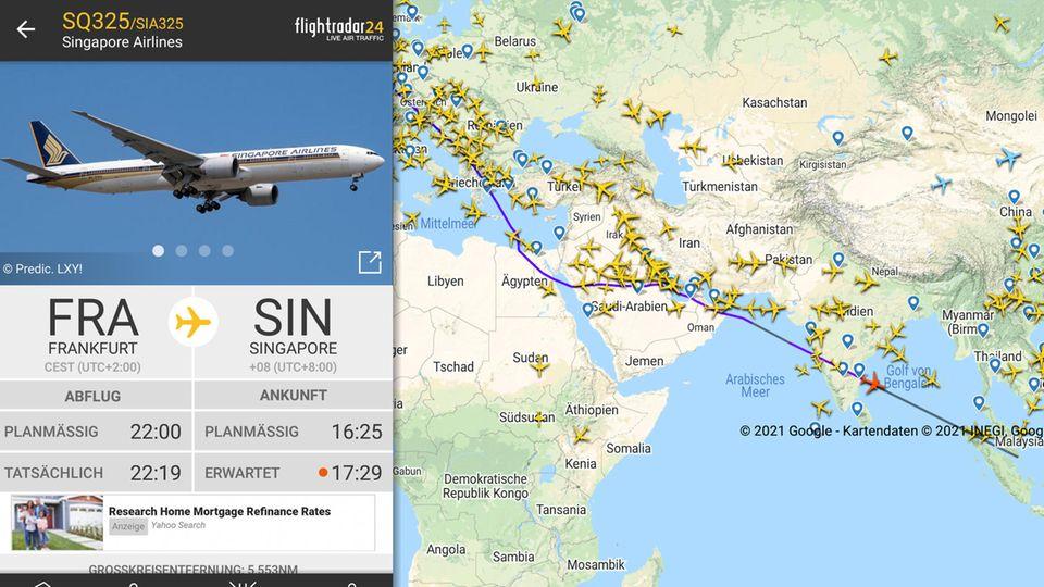 Der Flug SQ325 fliegt auf Nummer sicher und meidet den Überflug von Iran und Afghanistan. Der Umwegüber Ägypten und Saudi-Arabien führt zu einer Verspätung von ungefähr einer Stunde.