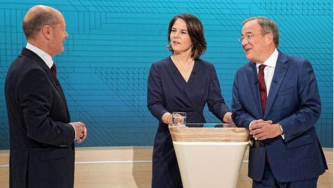 Olaf Scholz (l.), Annalena Baerbock und Armin Laschet kämpfen um die Nachfolge von Angela Merkel