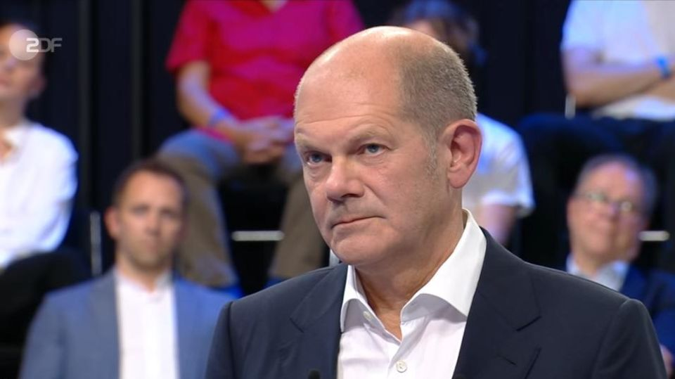 "SPD-Kanzlerkandidat Olaf Scholz in der ZDF-Sendung ""Klartext, Herr Scholz!"""