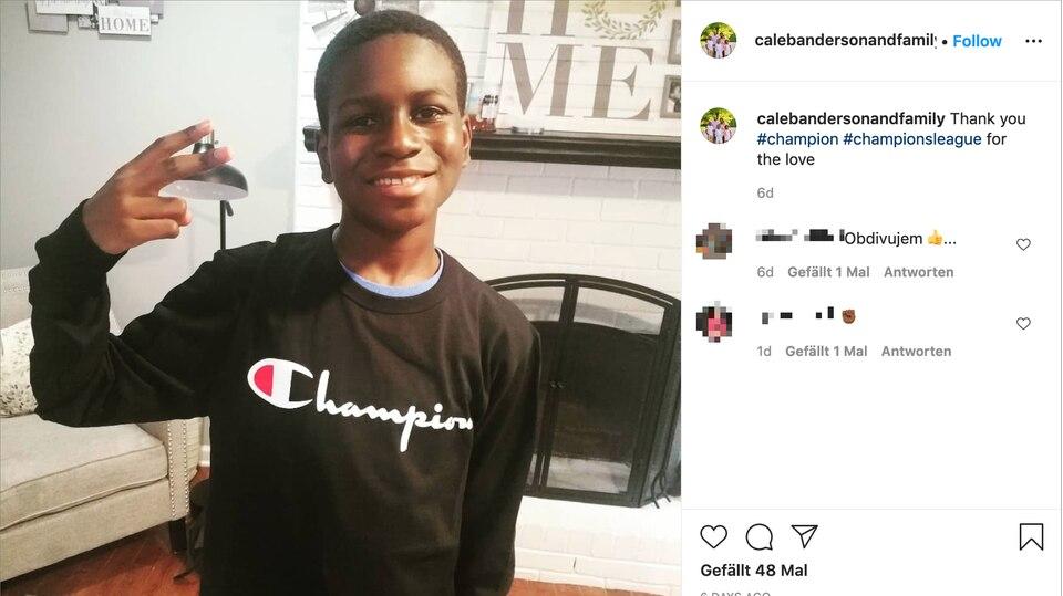 Der 13-jährige Caleb Anderson