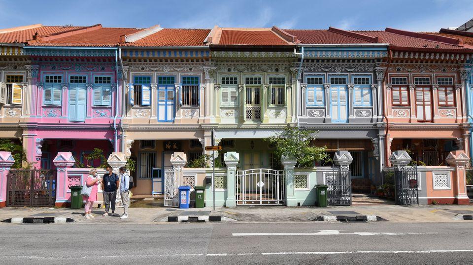 Bunte Peranakan-Häuser in dem Viertel Joo Chiat