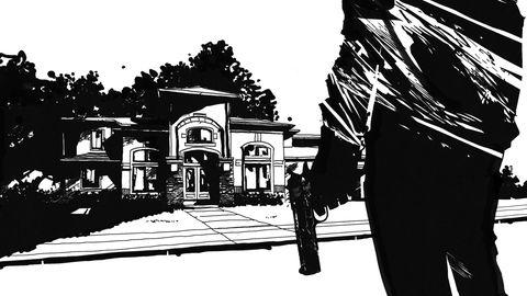 Illustration eines Manns mit Pistole vor einer Villa