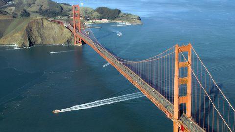Blick auf die Golden Gate Bridge von schräg oben