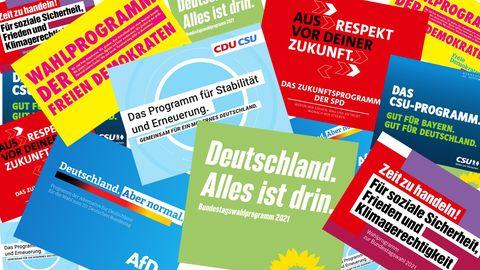 Die Wahlprogrammeder aktuell im Bundestag vertretenen Parteien