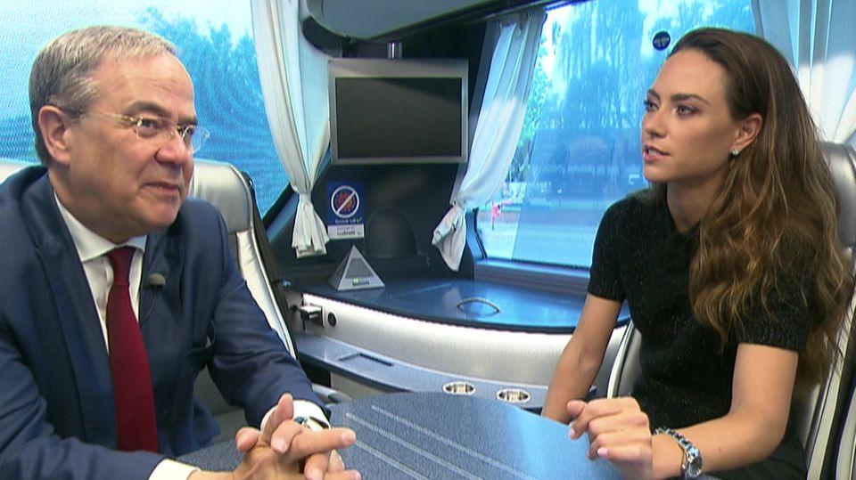 RTL-Reporterin Franca Lehfeldt im Gespräch mit Armin Laschet (CDU)