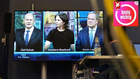 Spannung auf dem Bildschirm: Das dritte TV-Triell vonOlaf Scholz (l.), Annalena Baerbock (M.)und Armin Laschet