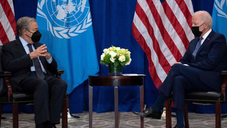 UN-Generalsekretär Guterres spricht vor der Vollversammlung mit US-Präsident Biden