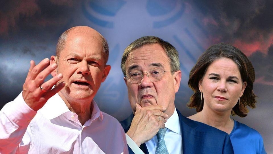 Die Kanzlerkandidaten zur Bundestagswahl 2021: Olaf SCHOLZ (SPD),Armin LASCHET (CDU),Annalena BAERBOCK, (Bündnis 90/die Grünen)