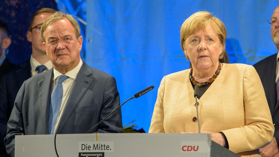 Armin Laschet und Angela Merkel bei einem CDU-Termin in Stralsund