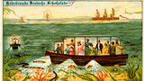 Menschen auf einem Unterwasser-Schiff