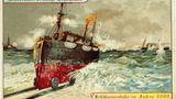 Eine Schiffseisenbahn fährt auf Schienen aus dem Meer