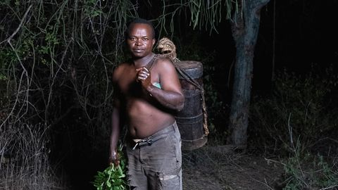 Peter Mulwa, einer der Imker aus Kinakoni. Im Holzeimer auf dem Rücken trägt er die Honigwaben, die er an diesem Tag geerntet hat
