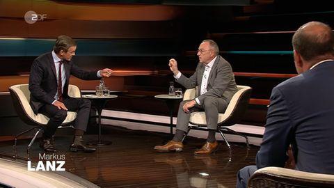 Moderator Markus Lanz (l.) und SPD-Co-Parteichef Norbert Walter-Borjans
