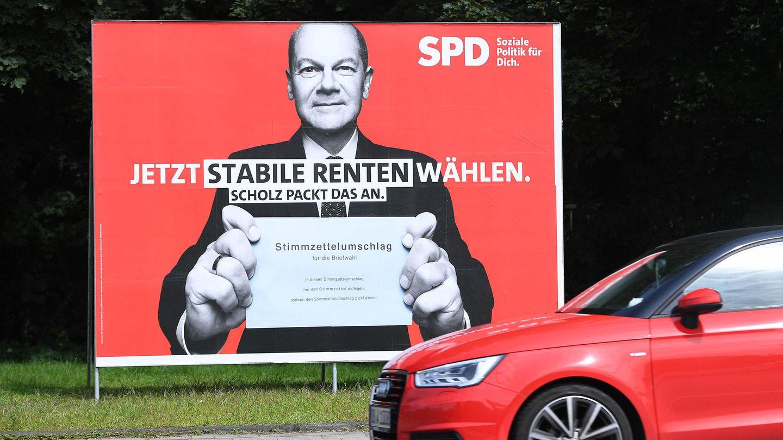 Wahlplakat mit SPD-Kanzlerkandidat Olaf Scholz