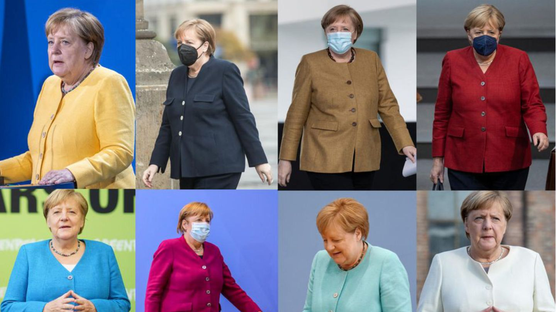 Angela Merkel in acht verschiedenen Outfits