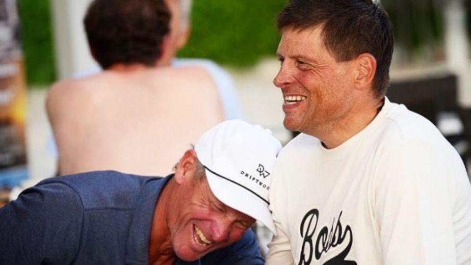 Die früheren Radsport-Profis Lance Armstrong (l.) und Jan Ullrich