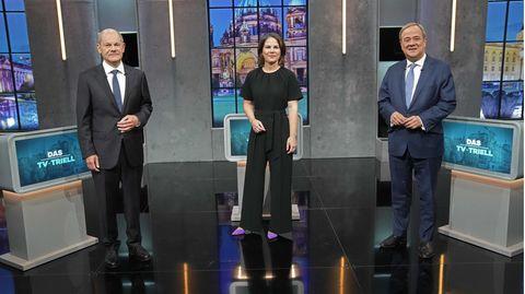 Von links: die Kanzlerkandidat:innen Olaf Scholz (SPD), Annalena Baerbock (Bündnis 90/Die Grünen) und Armin Laschet (CDU/CSU)