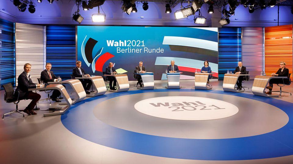 Die Berliner Runde mit den Spitzenkandidaten der Parteien