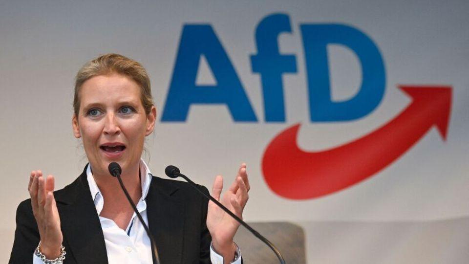 Alice Weidel spricht auf einer Kundgebung der AfD