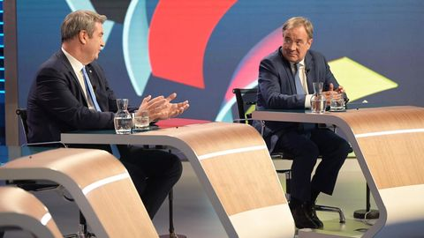 Markus Söder (l.) und Armin Laschet müssen sich ein schlechtes Ergebnis schönreden