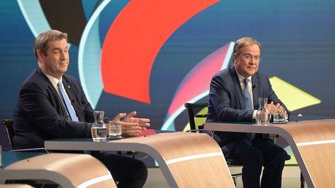Armin Laschet (CDU, r.), Kanzlerkandidat der Union, und CSU-Chef Markus Söder