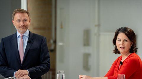 Ihre Parteien werden höchstwahrscheinlich zum Königsmacher: FDP-Chef Christian Lindnerund Grünen-Spitzenkandidatin Annalena Baerbock