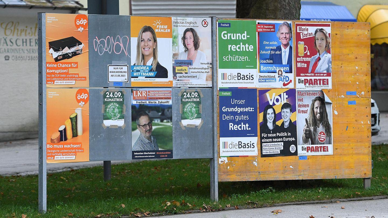 Plakate von Kleinstparteien hängen an einer Plakatwand