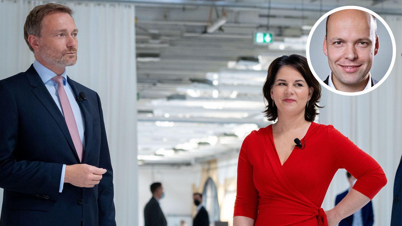Christian Lindner und Annalena Baerbock im Juni 2021 vor einer gemeinsamen Podiumsdiskussion
