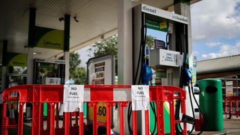 Großbritannien Sprit-Krise: Eine Tankstelle in London