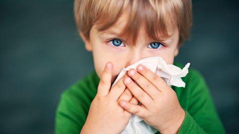 Erkältungen Atemwegsinfekte Kinder: Ein Kleinkind benutzt ein Taschentuch