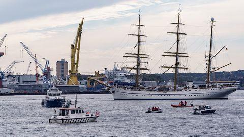 Gorch Fock bei ihrer Ankunft in Kiel