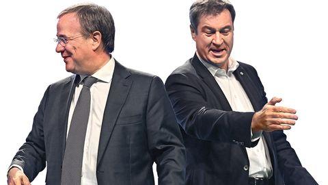 Armin Laschet und Markus Söder gegeneinander gewandt