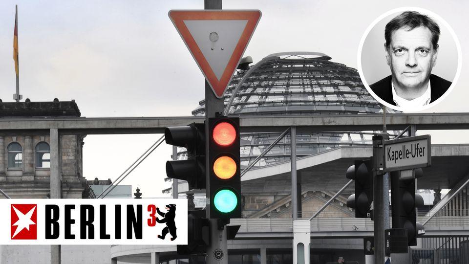 Kolumne Berlin hoch 3 - Ampel vor dem Reichstag - Axel Vornbäumen
