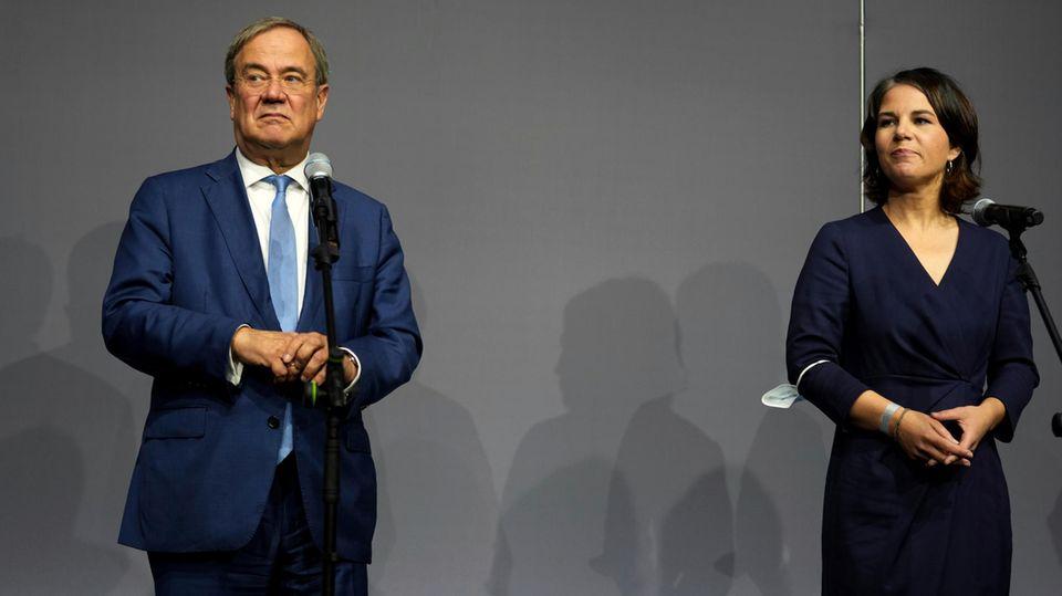 Armin Laschet, Parteichef der CDU, und Annalena Baerbock, Co-Vorsitzende von Bündnis 90/Die Grünen