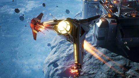 """In Science Fictions ist der Asteroidengürtel beliebt - Screenshotaus dem Videospiel """"Everspace 2"""" des Hamburger Entwicklers Rockfish Games."""