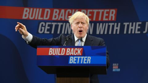Boris Johnson während seiner Rede auf dem Parteitag der Tories in Manchester