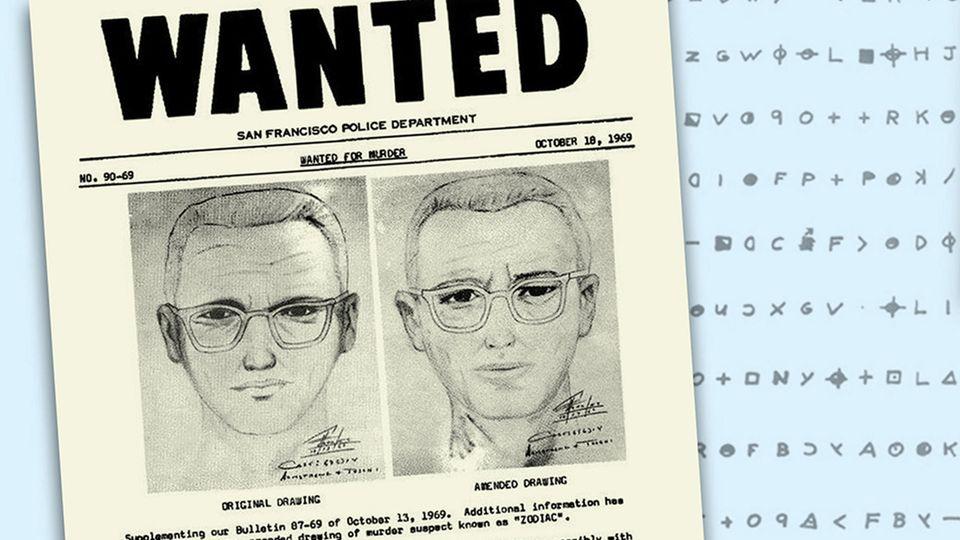 Phantombild des Zodiac Killers vor einer seiner verschlüsselten Nachrichten