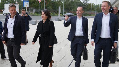 Robert Habeck, Annalena Baerbock, Volker Wissing, Christian Lindner (v.l.n.r.)