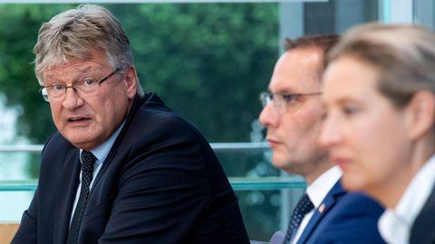 Von links: AfD-Bundessprecher Jörg Meuthen und dieAfD-Spitzenkandidaten bei der Bundestagswahl, Tino Chrupalla und Alice Weidel