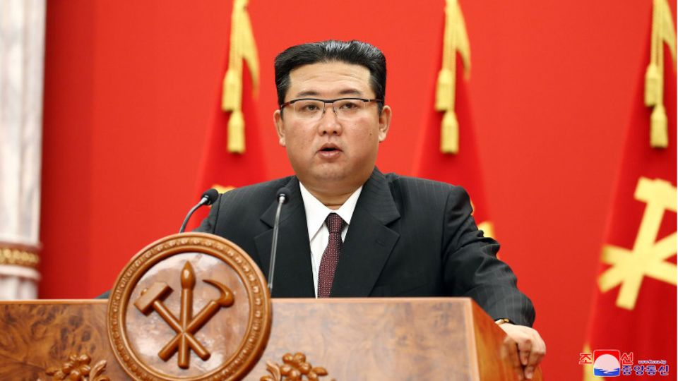 Der nordkoreanische Diktator Kim Jong Un bei einer Ansprache