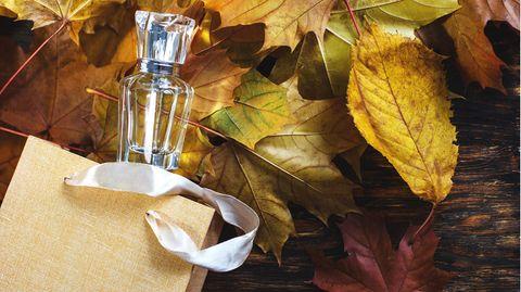 Parfum-Flakon liegt zwischen Herbstlaub