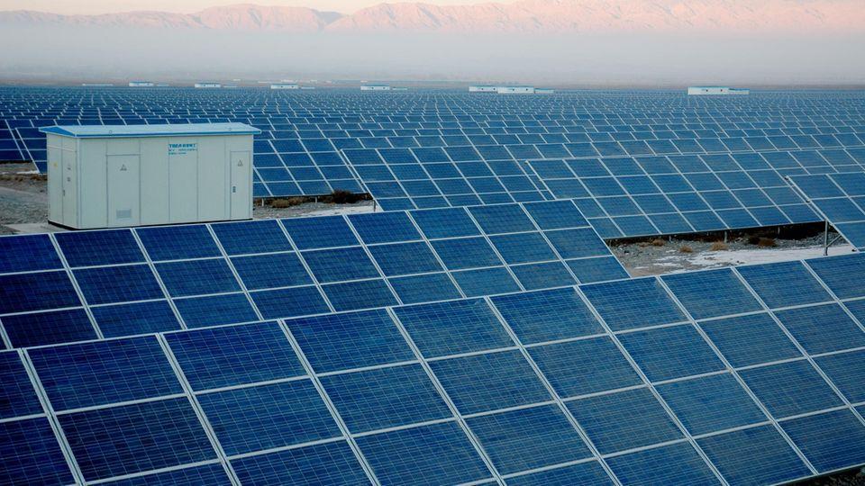 Großanlage für Solarstrom in China.