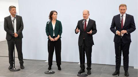 Die Parteispitzen von Grünen, SPD und FDP