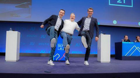Tilman Kuban (M.), Bundesvorsitzender der Jungen Union, CDU-Generalsekretär Paul Ziemiak und CSU-Generalsekretär Markus Blume