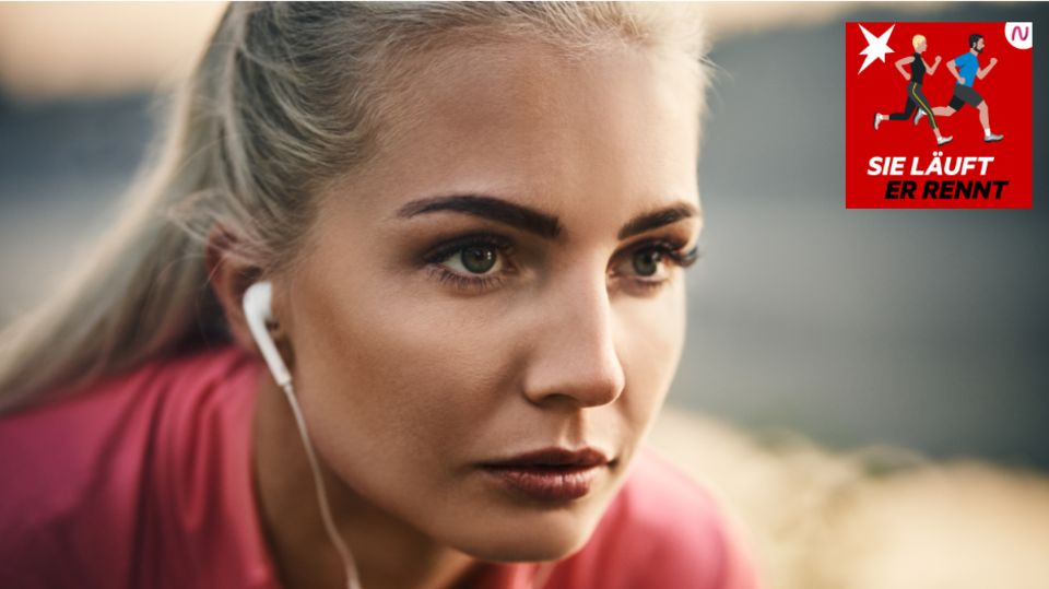 Eine Läuferin konzentriert sich