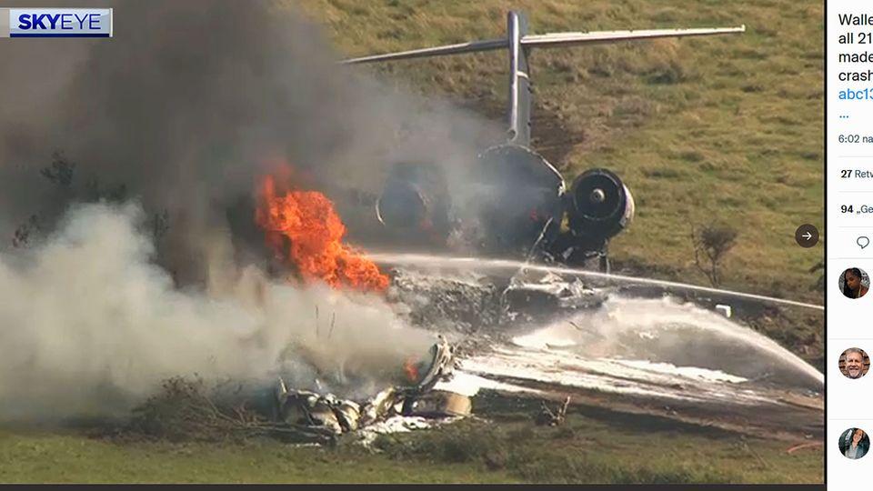 Auf einem Privatflughafen nahe der Stadt Houston isteineMcDonnell Douglas MD-87 von der Startbahn abgekommen und in Flammen aufgegangen.