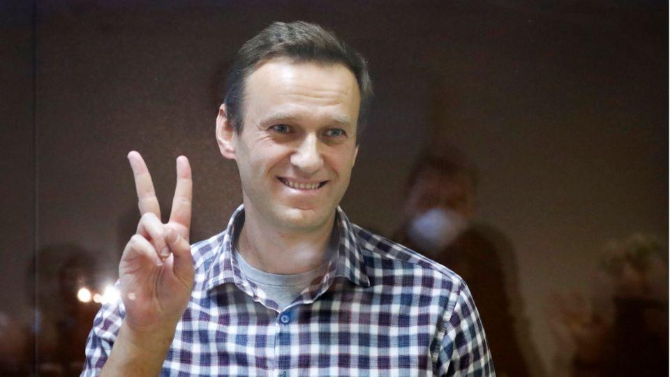 Alexej Nawalny zeigt das Peace-Zeichenr in einem Käfig im Bezirksgericht Babuskinskij